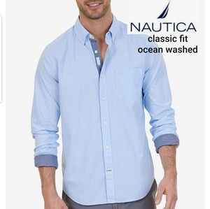 Nautica classic fit ocean washed oxford XL